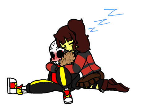 Underfell Sans and Frisk fluff by Eeveewhite97