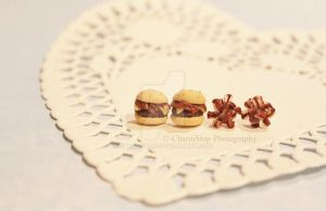 Bacon Cheeseburger and Bacon Pile Studs by CharmStop