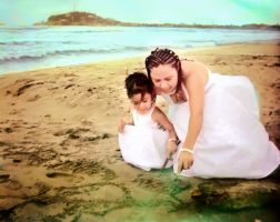 Mother and daughter on mazatlan beach by Rafaxx
