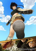 Giantess Yuffie and Cloud by giantess-fan-comics