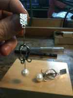 pearl earrings by The-Silver-Forge