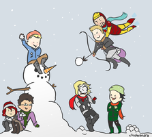 Avengers: Snowball Fight by nikaalexandra