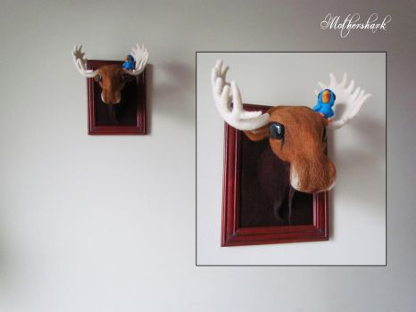 Needle felted Moose and friend by Mothershark