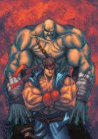 Sagat and Ryu by SephirothArt