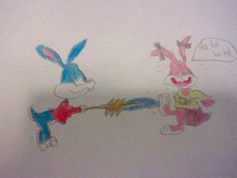 Buster Tickling Babs Bunny by nintendolover2010