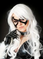 Marvel Black Cat leather mask and necklace by Lagueuse
