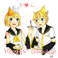 HAPPY 6TH BIRTHDAY RIN AND LEN by 76i