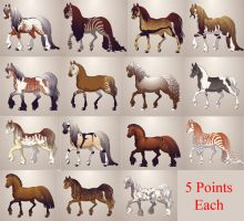 Horse Adoptables [5 Points Each] by EnchantedEquine