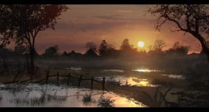 Swamp Sundown by Enthing