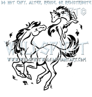 Spirit Dance - Wolf And Horse Design by WildSpiritWolf