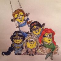 Minions as Disney Princesses by christmasevedeer