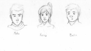 The Legend of Korra character sketches I by ThroughMyThoughts