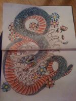 Snake and Cherry Blossoms by 12KathyLees12