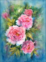peonies watercolor by LidiaGutman