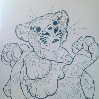 Pineapple Upsidedown Cat Inks for Colouring Book! by CharReed