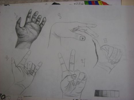 Five posed hands by Killer1394