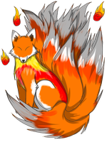 Fire 9 tailed Kitsune Acution [CLOSED] by GrimmXD-Adopts