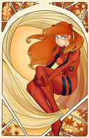 Asuka Langley art nouveau by MorwenHelyanwe