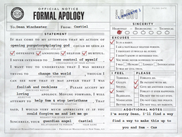 Castiel's apology to Dean by jaderotaski