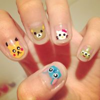 cartoon nails! by cloudy-days95