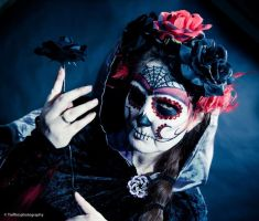 Candy Skull lady with rose by modelcarin