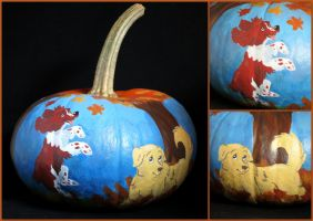 Fall Puppies Painted Pumpkin by LeiliaClay