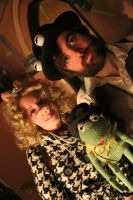 Steampunk Jim Henson and Kermit with Miss Piggy by The-Prez