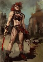 Barbarian Woman sketch by Rhineville
