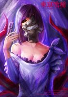 Tokyo Ghoul - Rize with Kaneki's Mask on by andy5281