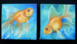 Twin Goldfish Paintings by BlackMagdalena