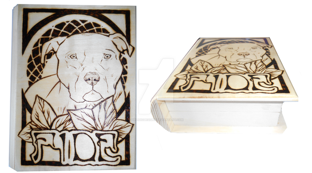 Wood Burned Pitbull Box by DruidicDesigns