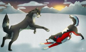 Art trade: Snow Play by Mana-ghostwolf