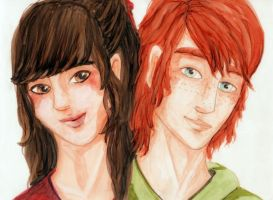 Mini portraits - Liam and Caitlin by Skogflickan