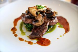 Steak with Red Wine Jus and Wild Mushrooms by NeroDesign