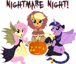 Fluttershy,AppleJack,Twilight S [Nightmare Night!] by KyssS90