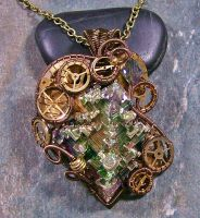 LARGE Steampunk Bismuth and Crystal Pendant by HeatherJordanJewelry