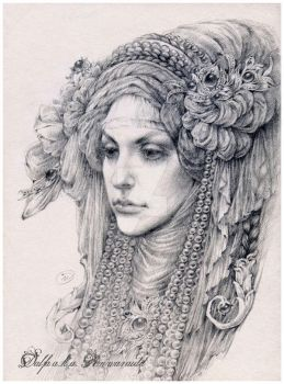Veil and pearls by DalfaArt