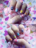 Candy Heart Nails by psychoren