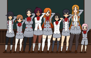 The Bleach girls at school! by blackheartedlove