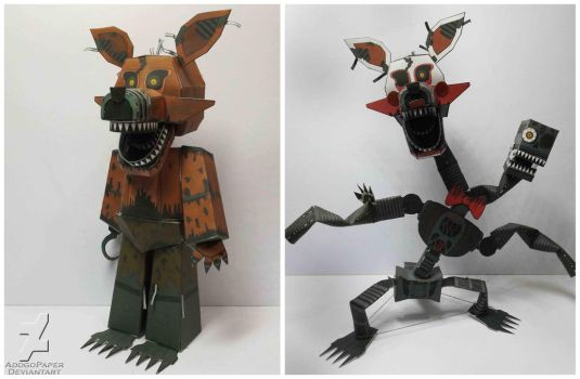 FNAF 4 Nightmare Foxy/Mangle papercraft by Adogopaper