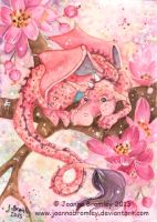 ACEO Pink Blossom Dragon by JoannaBromley