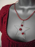 Red Star - a beaded pendant by SneddoniaDesigns
