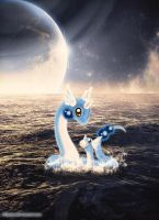 Dratini and Dragonair by Mayayui