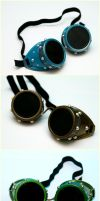 Colorful Steampunk Goggles by cyborgseamstress