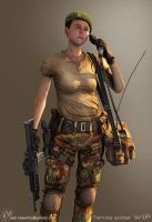 WIP - Female Soldier by idonk