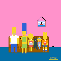 The Simpsons Pixel Art Couch Gag by AdroitCell