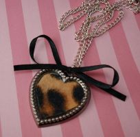 Felted Leopard Heart Necklace by FatallyFeminine