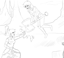 Korra vs Marceline (WIP) by TehpandahxD
