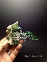Mame cascade wire bonsai tree on rock by Ken To by KenToArt