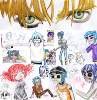 Scribbily Scrabbily 4 old Gorillaz stuff + Cherry by GlandEnce